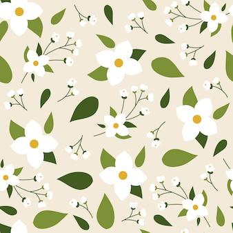 Jasmine seamless spring floral pattern