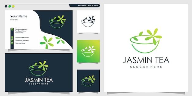 Jasmine tea logo with unique line art style and business card design template premium vector