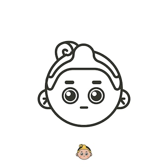 Javanese face logo for art business. vintage funny logos with face man