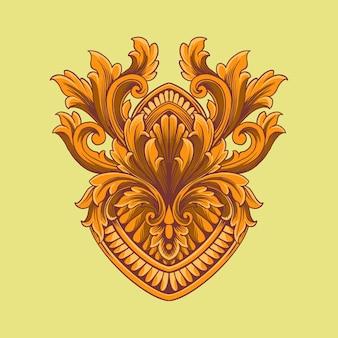 ジャワの花の彫刻が施された装飾品