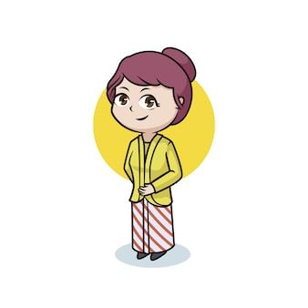 Javanese girl with tradisional kebaya character design