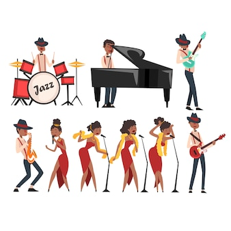 재즈 아티스트 캐릭터는 흰색으로 설정됩니다. 흑인 남자 드럼, 그랜드 피아노, 일렉트릭 기타 및 색소폰 연주. 다른 포즈의 여자가 수. 뮤지컬 밴드 개념. 만화.