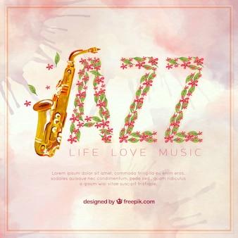 水彩花とジャズの背景