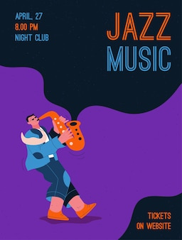 Член джаз-бэнда играет музыку на фестивале, концерте или выступает на сцене