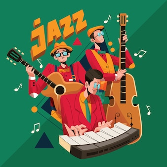 Jazz band musicians performance illustration in retro style