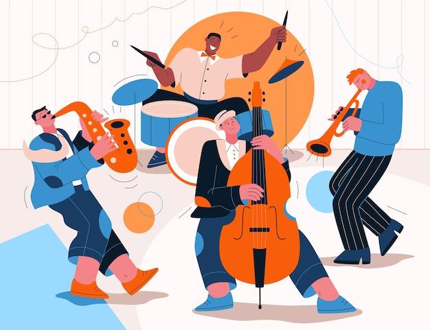 Джаз-бэнд играет музыку на фестивале, концерте или выступает на сцене.