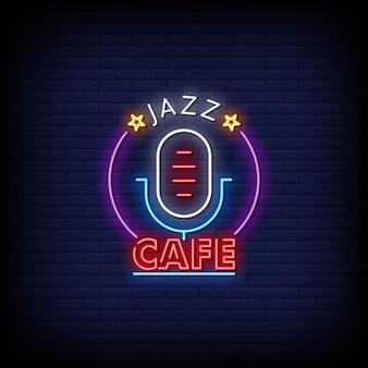 Логотип джаз кафе неоновые вывески стиль текст