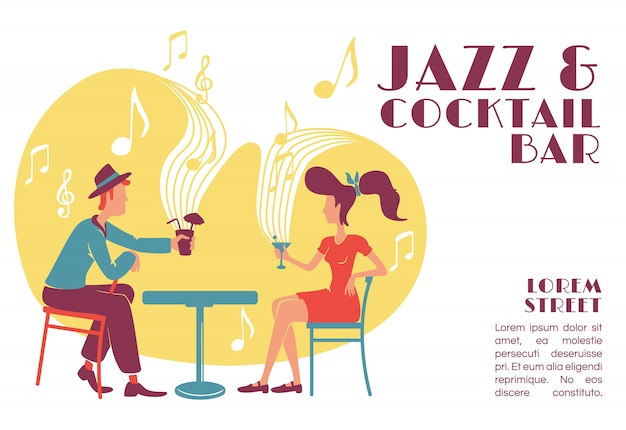 Jazz and cocktail bar banner   template.