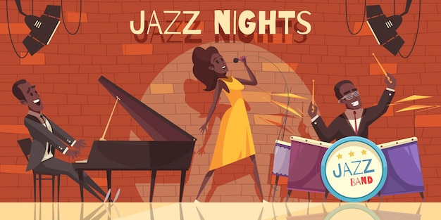 Jazz  composition with view of night club stage with african american musicians and musical instruments