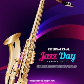 현실적인 색소폰으로 재즈의 날 배경