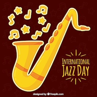 Jazz day background with saxophone and musical notes