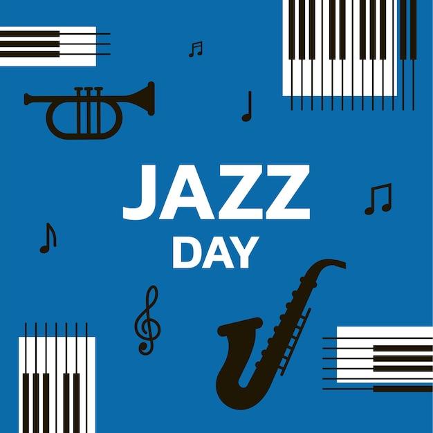 Джазовый день баннер с музыкальными инструментами векторная иллюстрация