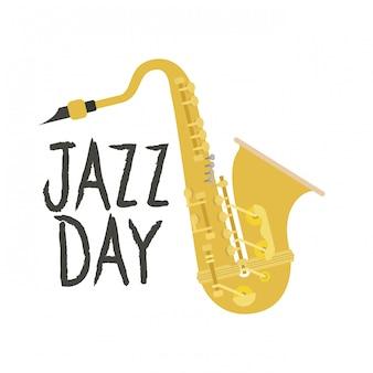 Jazz day label изолированные значок
