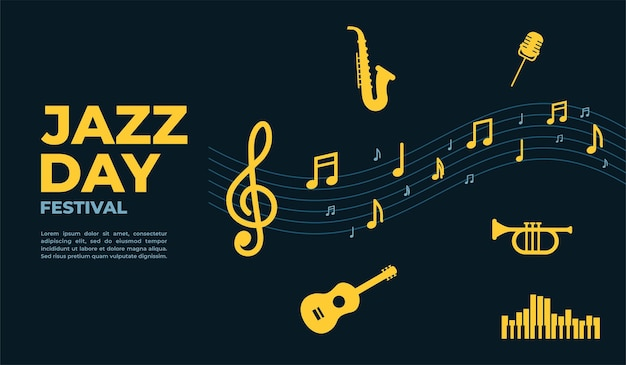 Jazz day poster and banner design template for poster banner event promotion vector illustration
