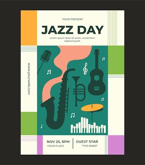 Jazz day poster template design in flat style