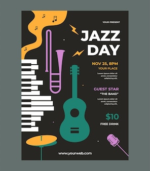 Jazz day poster template vector with flat design