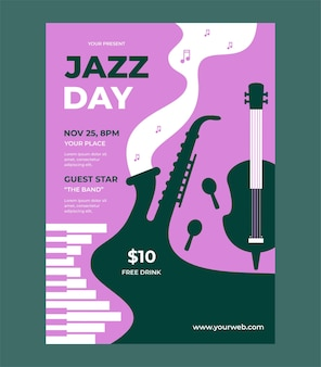 Jazz day poster vector template