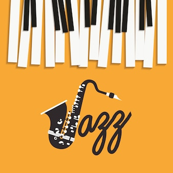 Плакат «джазовый день» с фортепианной клавиатурой и саксофоном