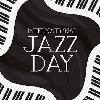 Jazz day poster with piano keyboard