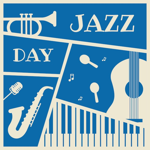 Jazz day with music instruments vector illustration for banner design