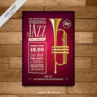 Джаз плакат событие с трубой
