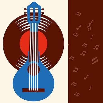 Jazz festival blue banjo disk music frame