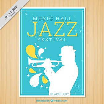 Jazz festival brochure with trumpeter silhouette