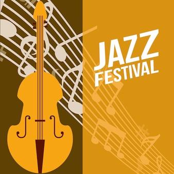 Jazz festival cello frame music  notes background