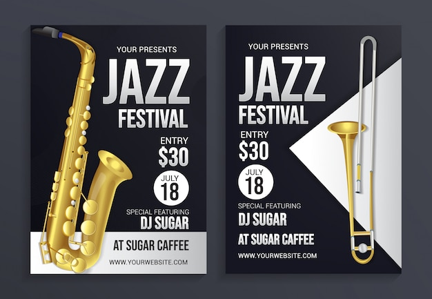 Jazz festival flyer template, modern design