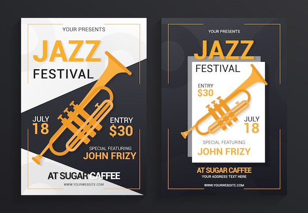 Jazz festival flyer template vector