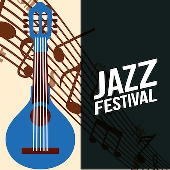 Jazz festival frame sign blue banjo play music