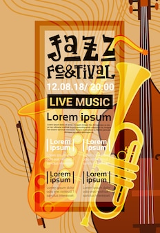 Jazz festival live music concert poster advertisement retro banner