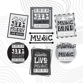 Jazz festival live music concert poster advertisement retro banners set