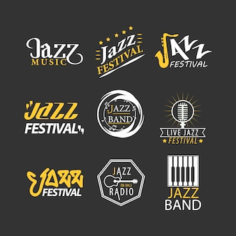 Jazz festival logos set isolated on black background.