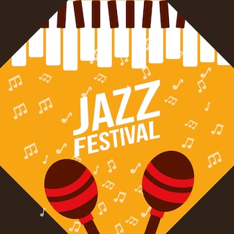 Jazz festival play piano maracas  notes music