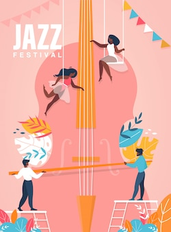 Jazz festival poster. people playing on huge cello illustration