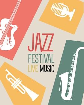 Плакат джазового фестиваля с инструментами и надписью дизайн векторной иллюстрации