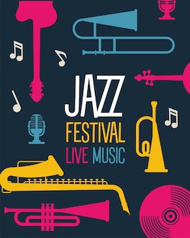 Jazz festival poster with instruments and lettering vector illustration design