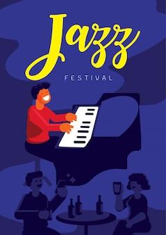 Jazz festival with pianist in jazz pub
