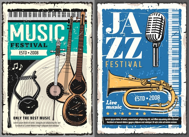Jazz and folk music festival. concert posters