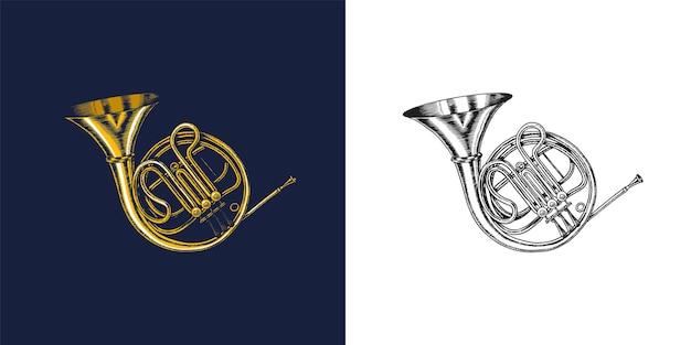 ブルースとブルースのためのモノクロの刻まれたビンテージスタイルの手描きのトランペットスケッチのジャズフレンチホルン