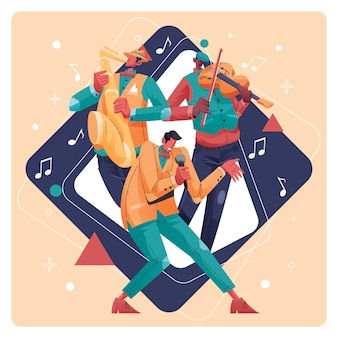 Jazz group musicians street performance illustration
