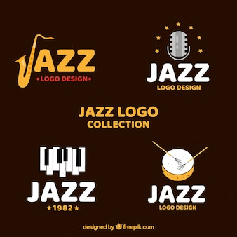 Jazz logo collection with flat design