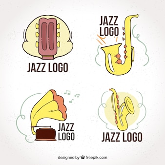 Jazz logo collection with hand drawn style