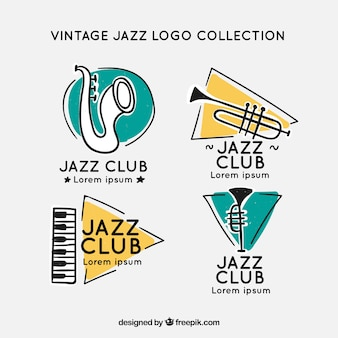 Jazz logo collection with vintage style