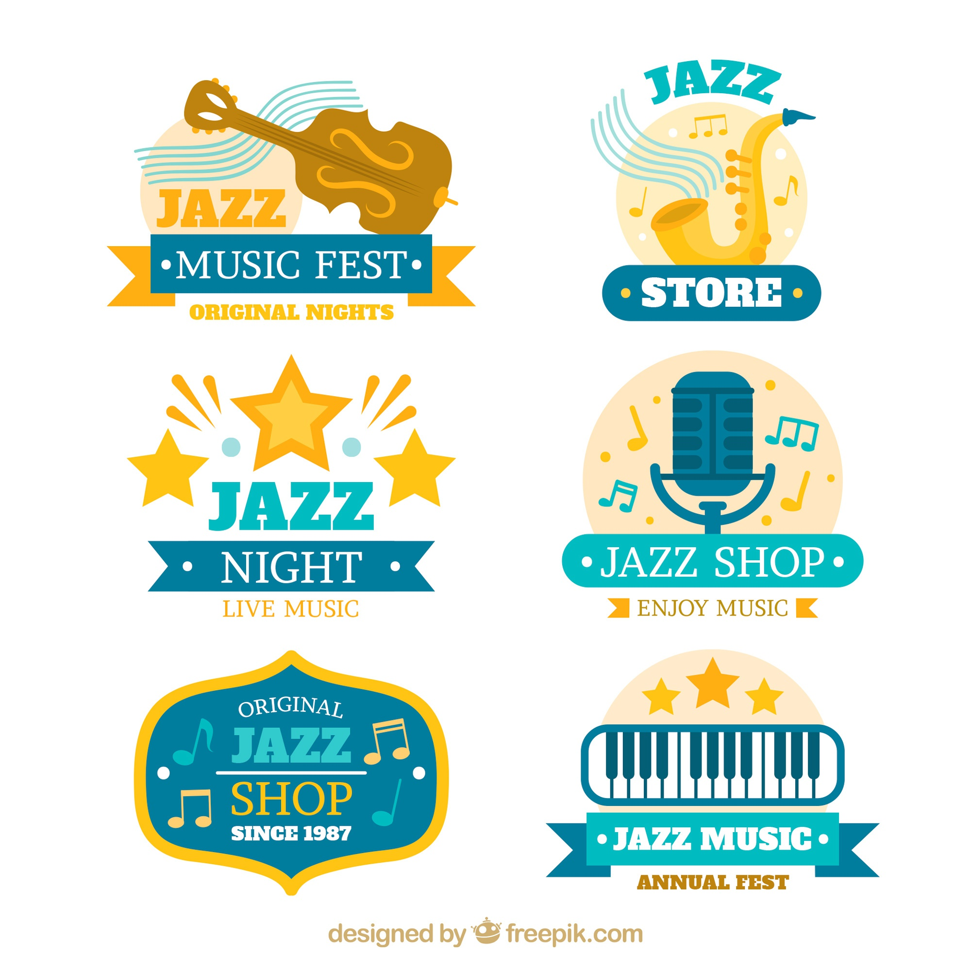 Jazz logos collection in flat style