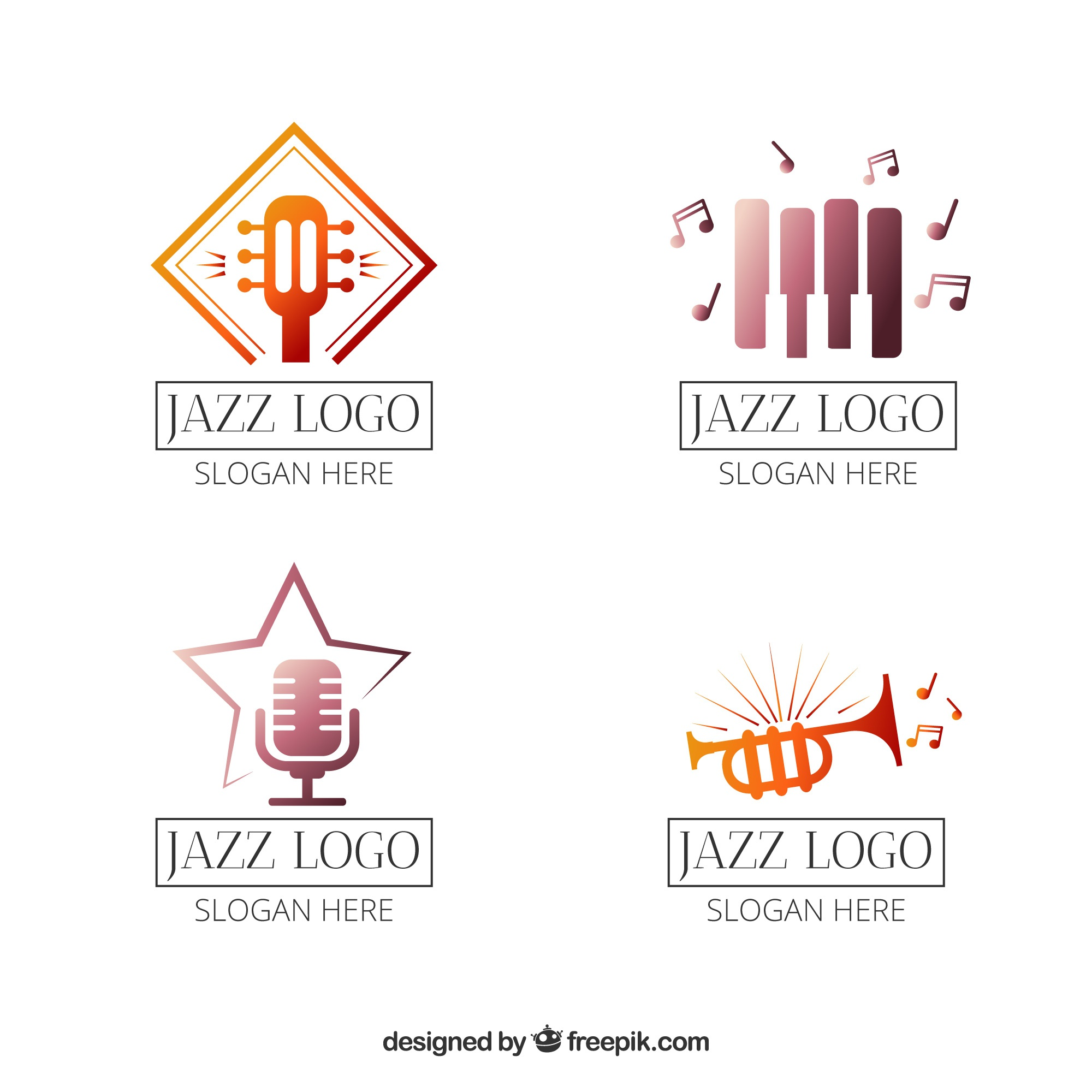 Jazz logos collection in gradient style