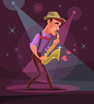 Jazz man character plays solo in club cartoon illustration