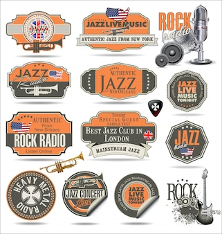 Jazz music badges and labels