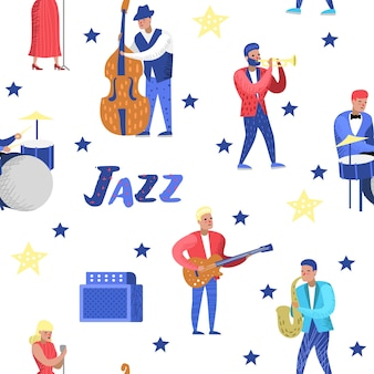 Jazz music characters seamless pattern